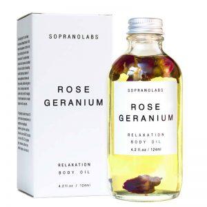 Rose Geranium Relaxation Body Oil vegan natural organic sopranolabs 02