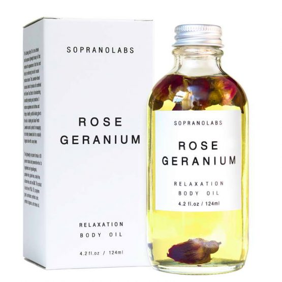 Rose Geranium Relaxation Body Oil vegan natural organic sopranolabs 02