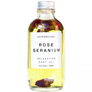 Rose Geranium Relaxation Body Oil vegan natural organic sopranolabs