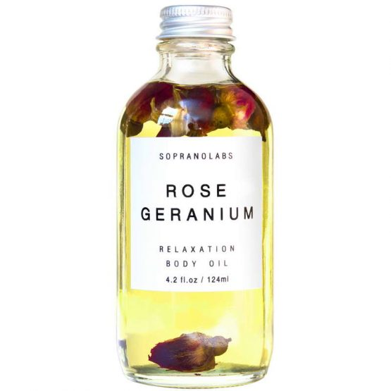 Rose Geranium Relaxation Body Oil vegan natural organic sopranolabs